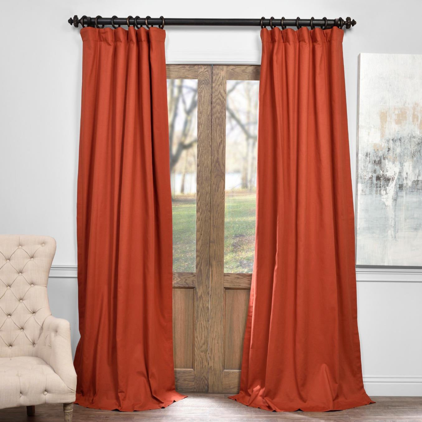 "Exclusive Fabrics Solid Cotton True Blackout Curtain Panel 96"" In Millstone Gray (as Is Item) 