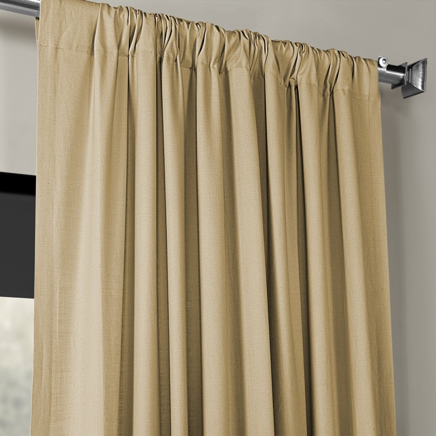 Exclusive Fabrics Solid Country Cotton Linen Weave Curtain Panel In Solid Country Cotton Linen Weave Curtain Panels (View 7 of 30)