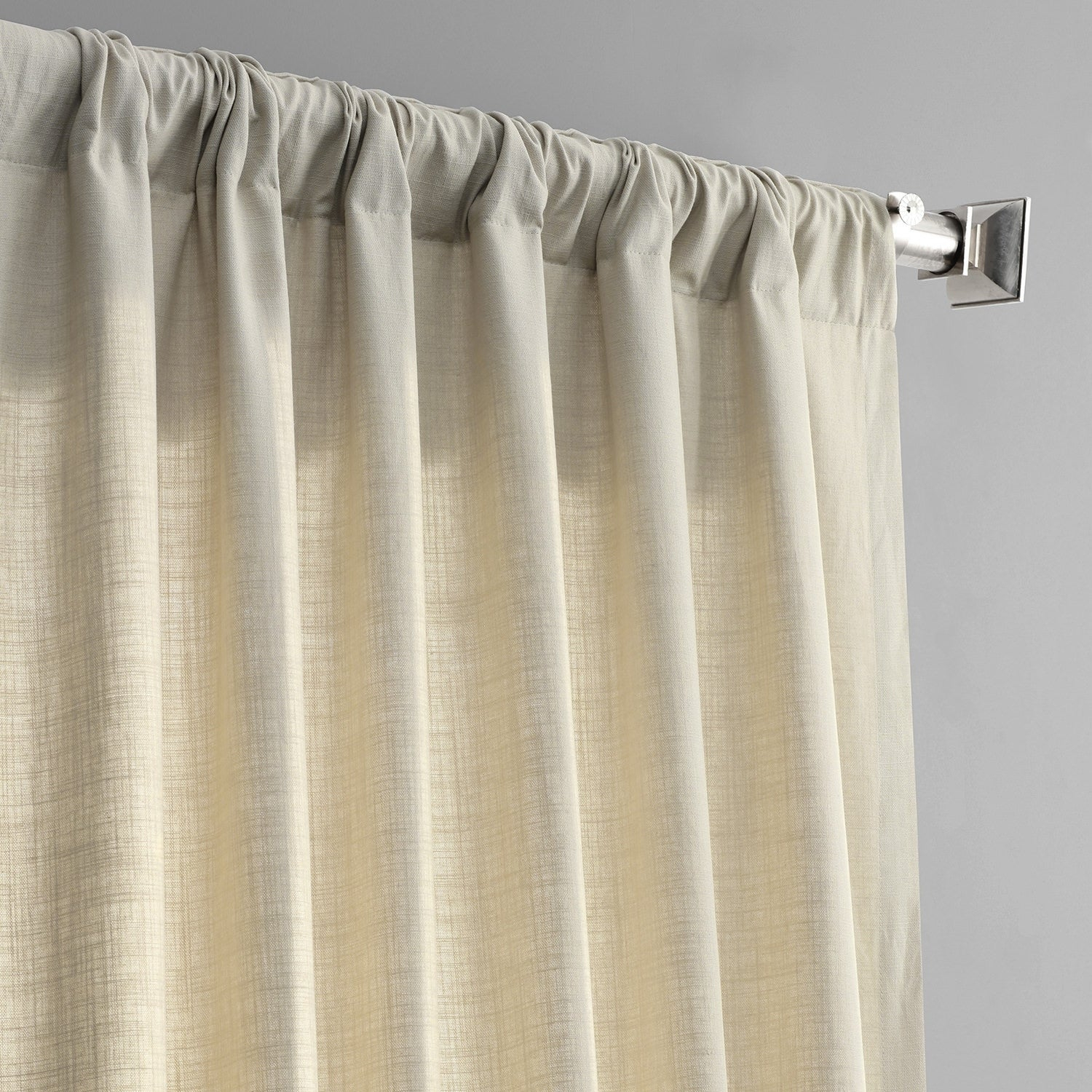 Exclusive Fabrics Solid Country Cotton Linen Weave Curtain Panel Pertaining To Solid Country Cotton Linen Weave Curtain Panels (View 4 of 30)