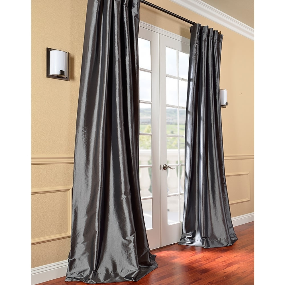 Exclusive Fabrics Solid Faux Silk Taffeta Graphite Curtain Regarding Solid Faux Silk Taffeta Graphite Single Curtain Panels (View 8 of 30)