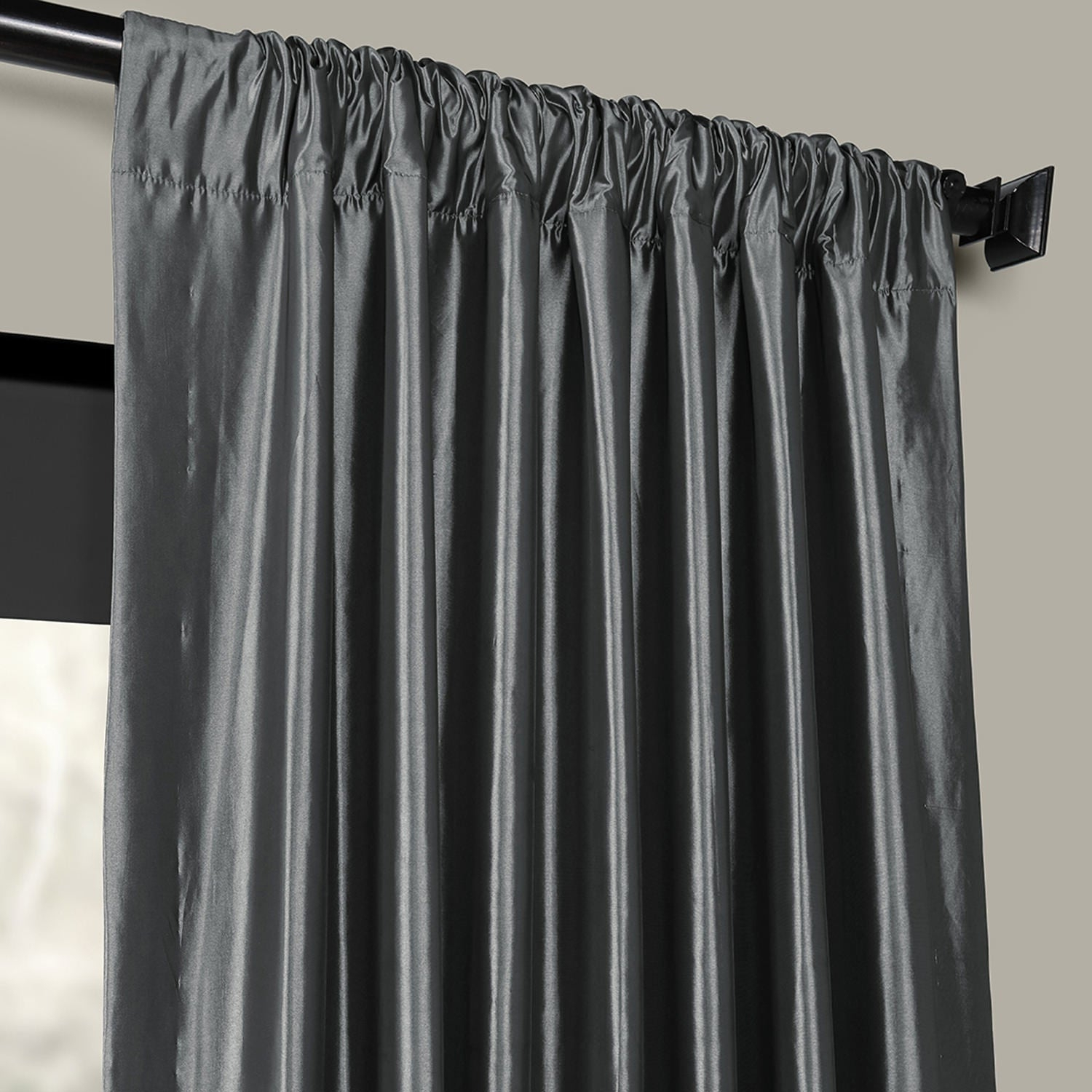 Exclusive Fabrics Solid Faux Silk Taffeta Graphite Single Curtain Panel Intended For Solid Faux Silk Taffeta Graphite Single Curtain Panels (View 9 of 30)