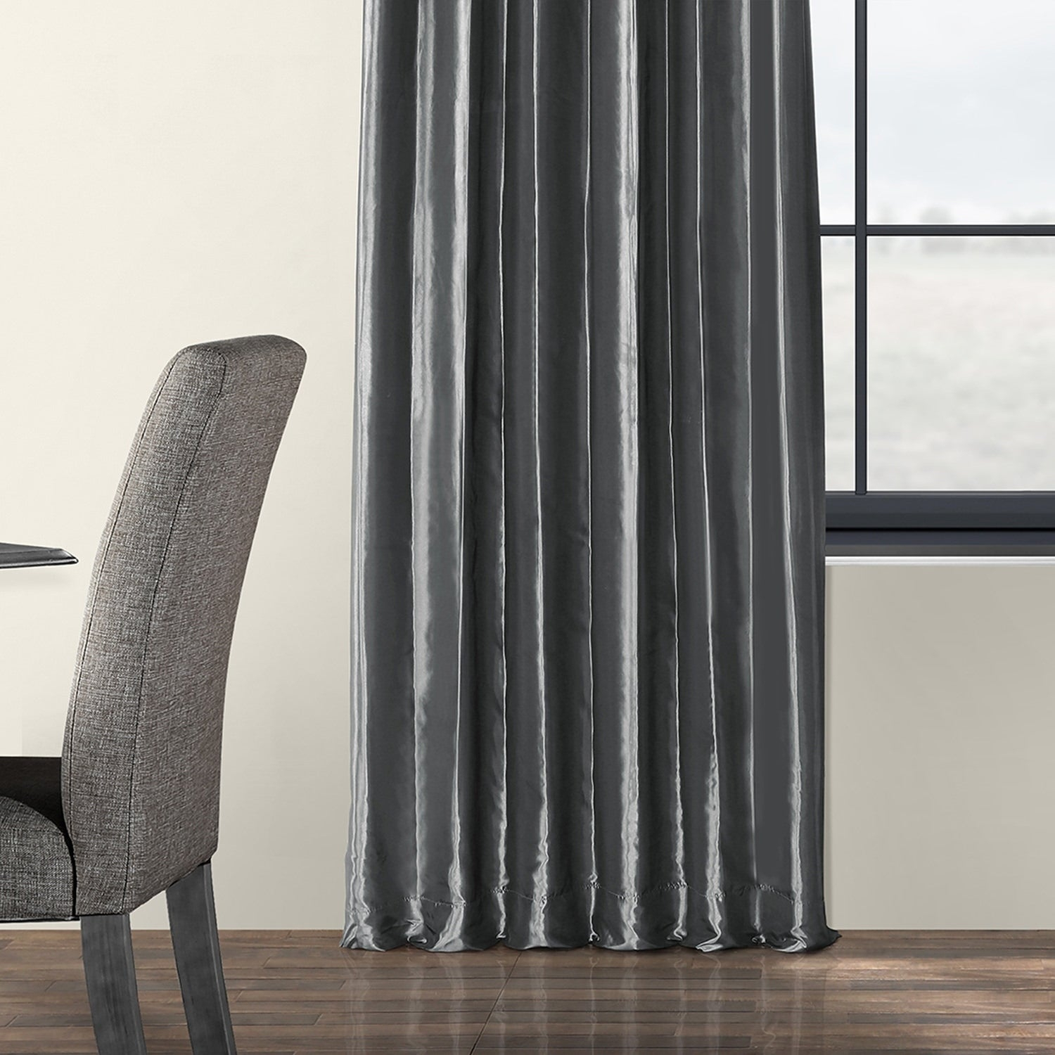 Exclusive Fabrics Solid Faux Silk Taffeta Graphite Single Curtain Panel Throughout Solid Faux Silk Taffeta Graphite Single Curtain Panels (View 10 of 30)