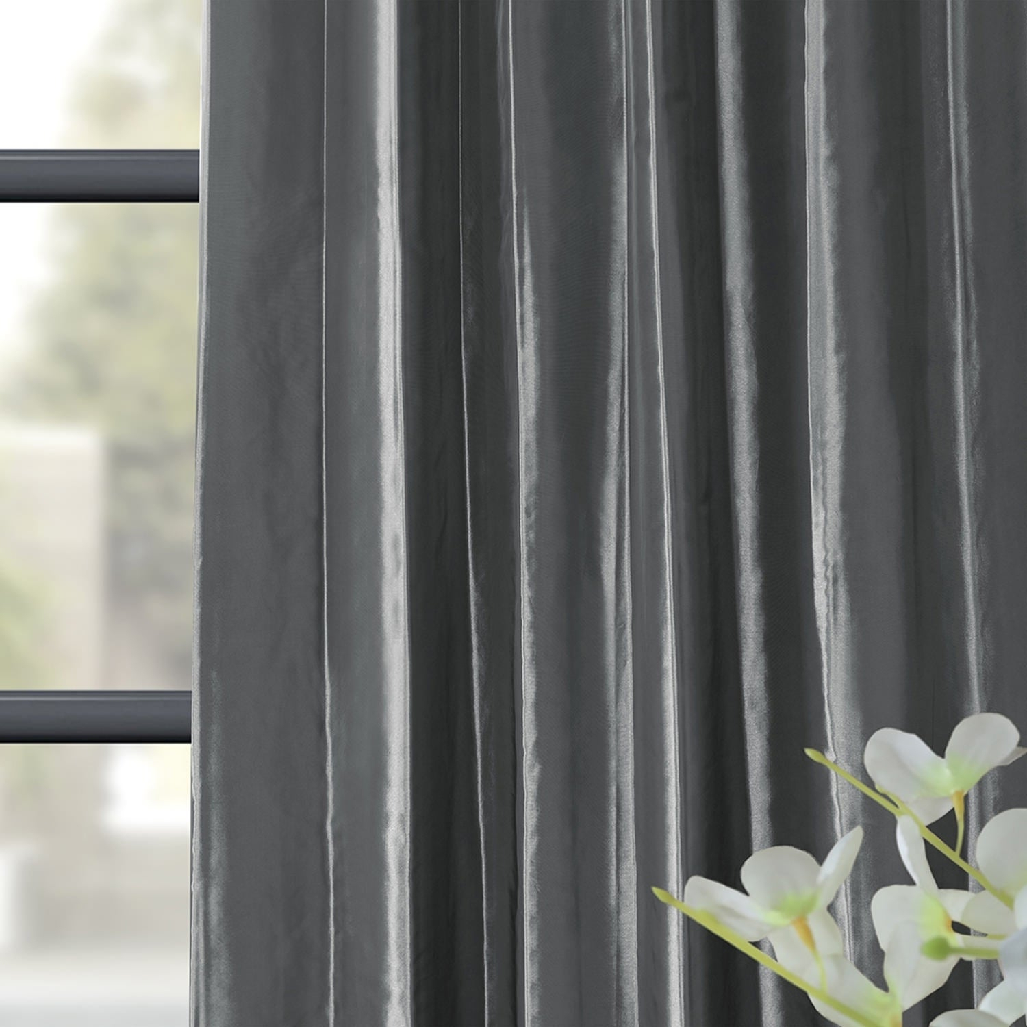 Exclusive Fabrics Solid Faux Silk Taffeta Graphite Single Curtain Panel With Solid Faux Silk Taffeta Graphite Single Curtain Panels (View 12 of 30)