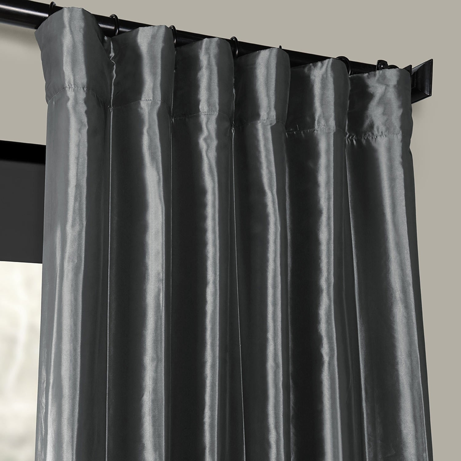 Exclusive Fabrics Solid Faux Silk Taffeta Graphite Single Curtain Panel With Solid Faux Silk Taffeta Graphite Single Curtain Panels (View 11 of 30)