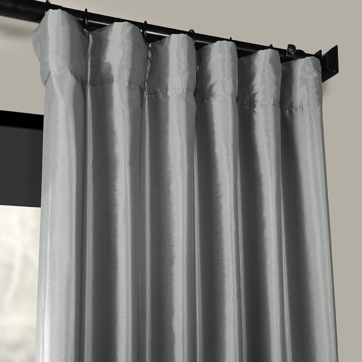 Exclusive Fabrics Solid Faux Silk Taffeta Platinum Single Curtain Panel For Solid Faux Silk Taffeta Graphite Single Curtain Panels (View 13 of 30)