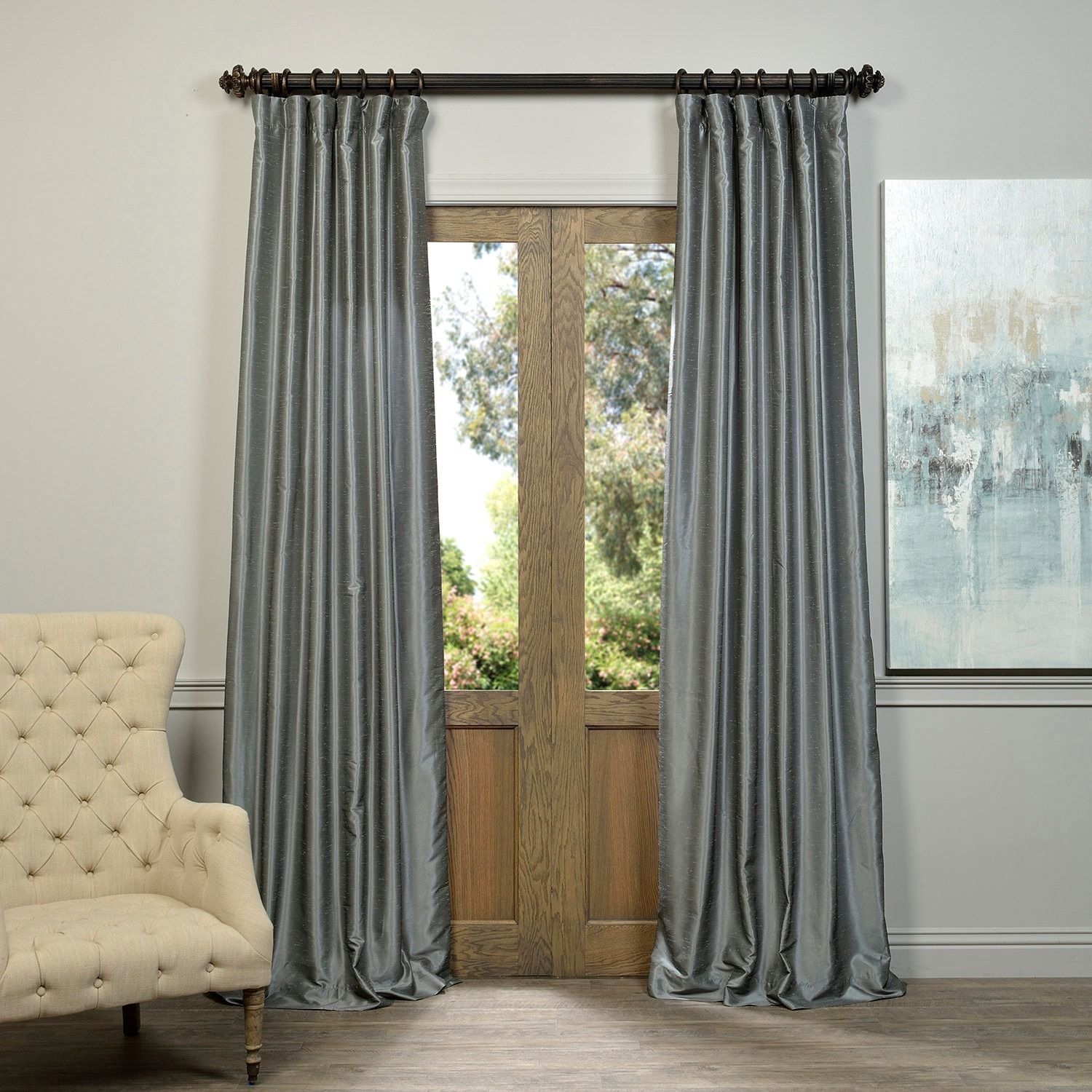 Exclusive Fabrics Storm Grey Vintage Faux Textured Dupioni Intended For Storm Grey Vintage Faux Textured Dupioni Single Silk Curtain Panels (View 12 of 30)