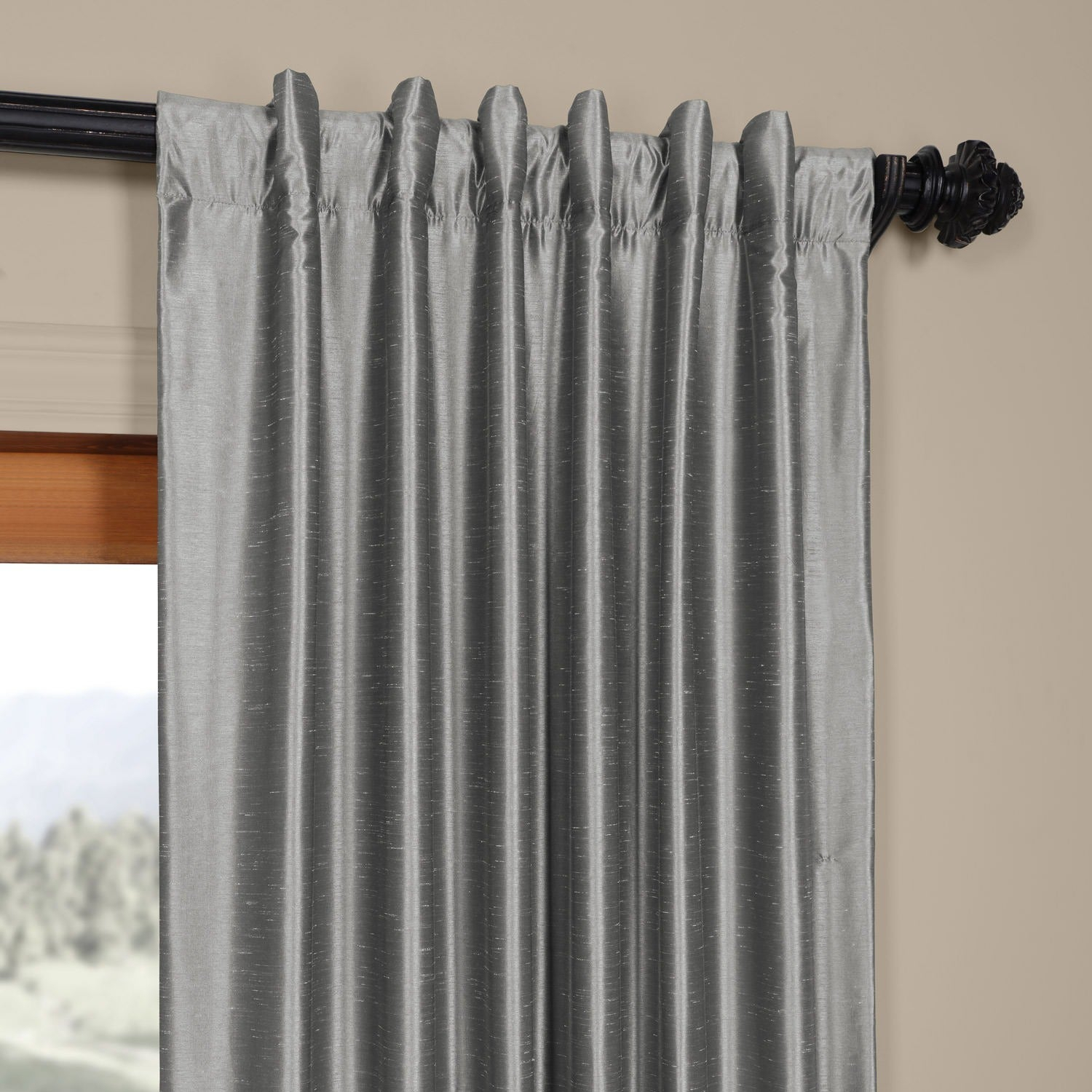 Exclusive Fabrics Storm Grey Vintage Faux Textured Dupioni Single Silk Curtain Panel Inside Storm Grey Vintage Faux Textured Dupioni Single Silk Curtain Panels (View 14 of 30)