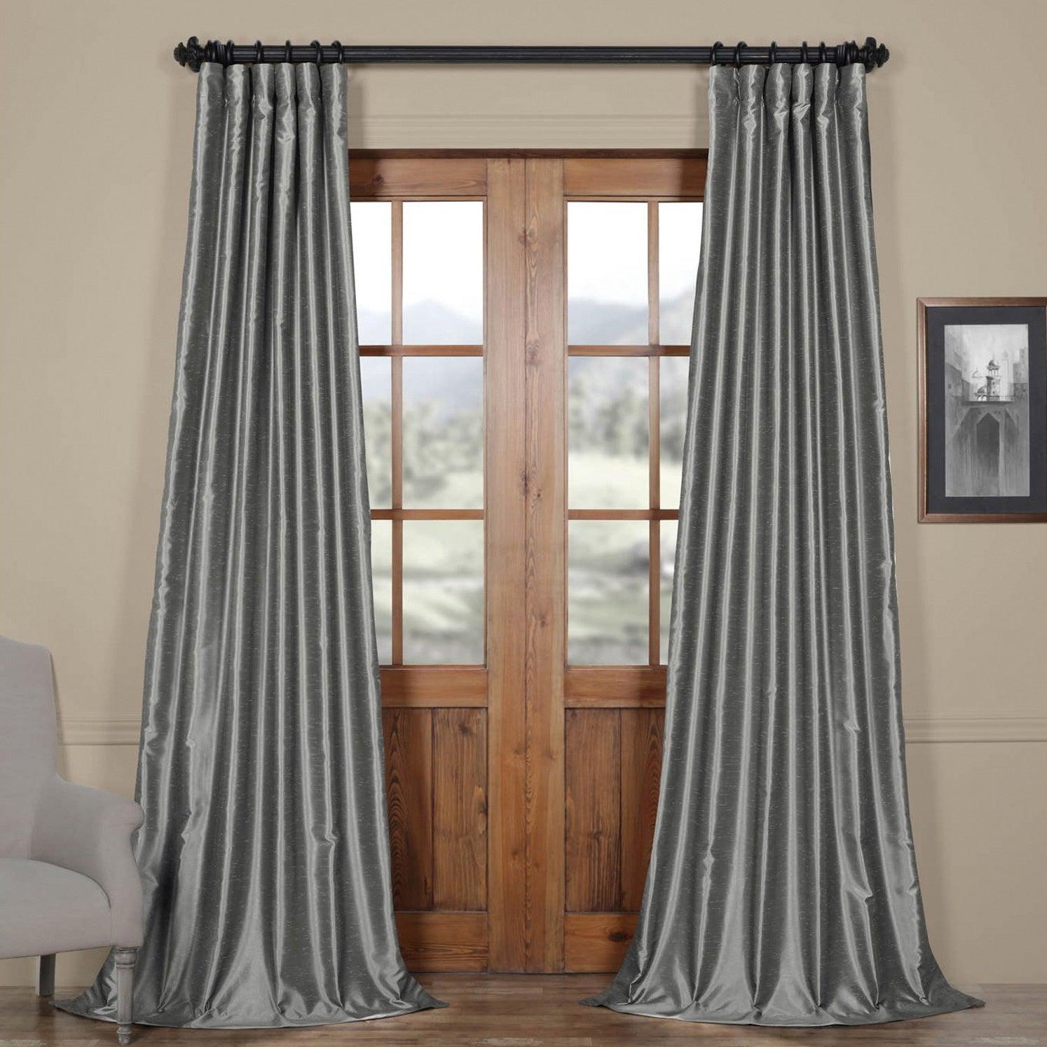 Popular Photo of Storm Grey Vintage Faux Textured Dupioni Single Silk Curtain Panels