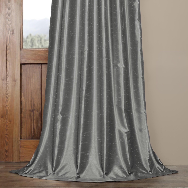 Exclusive Fabrics Storm Grey Vintage Faux Textured Dupioni Single Silk Curtain Panel Throughout Storm Grey Vintage Faux Textured Dupioni Single Silk Curtain Panels (View 16 of 30)