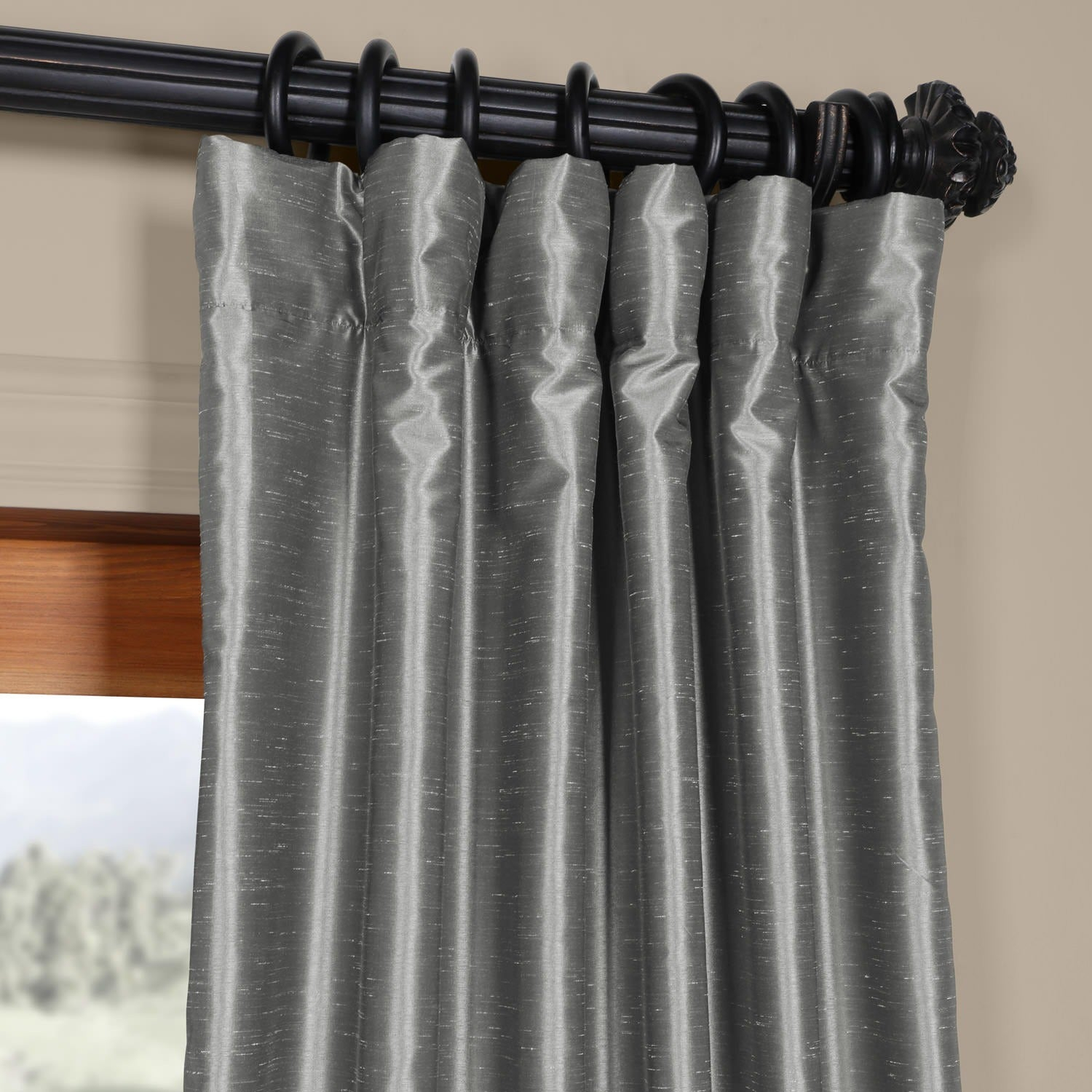 Exclusive Fabrics Storm Grey Vintage Faux Textured Dupioni Single Silk Curtain Panel Within Storm Grey Vintage Faux Textured Dupioni Single Silk Curtain Panels (View 17 of 30)