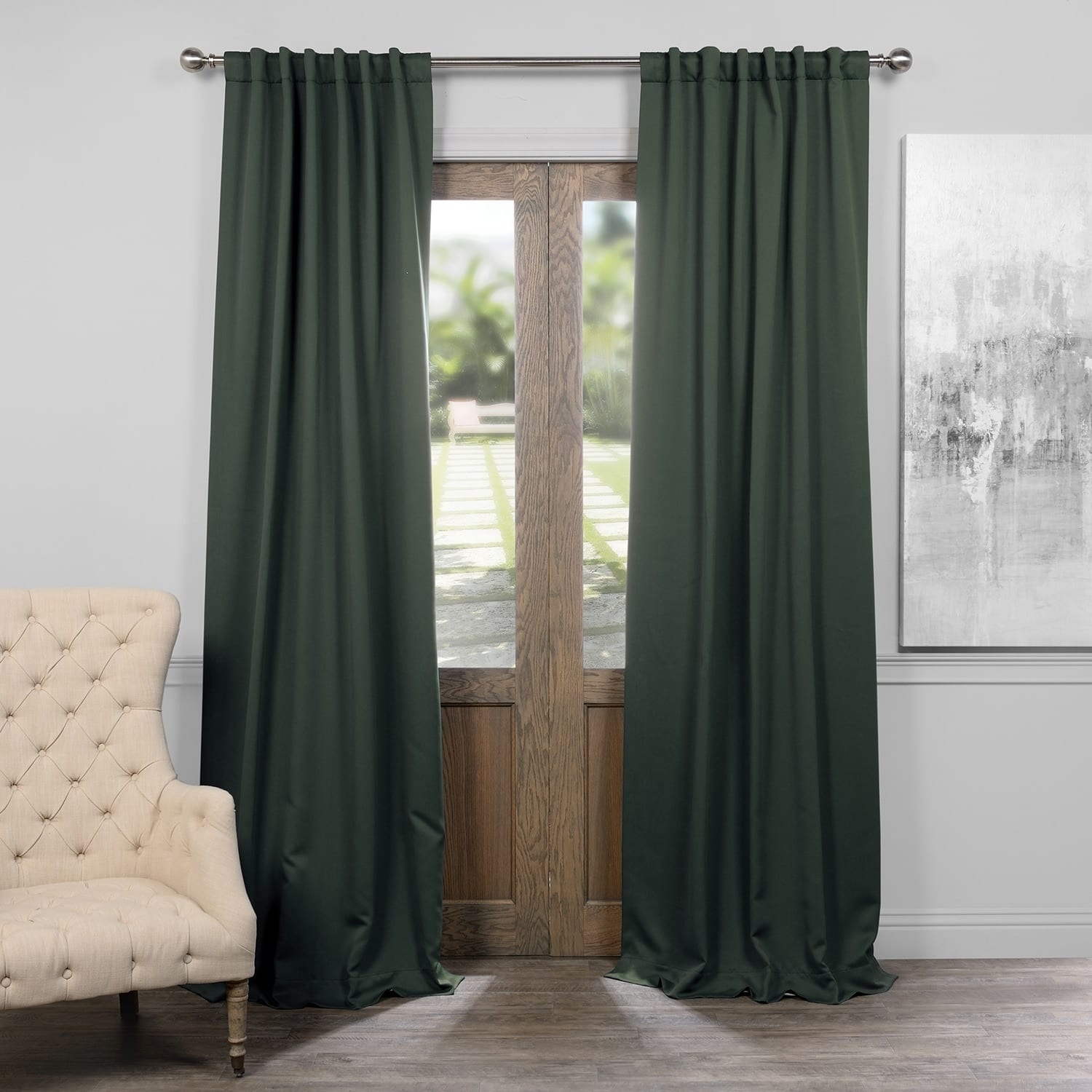 Exclusive Fabrics Thermal Insulated Solid Blackout 120 Inch Curtain Panel Pair – 50 X 120 With Regard To Solid Thermal Insulated Blackout Curtain Panel Pairs (View 24 of 30)