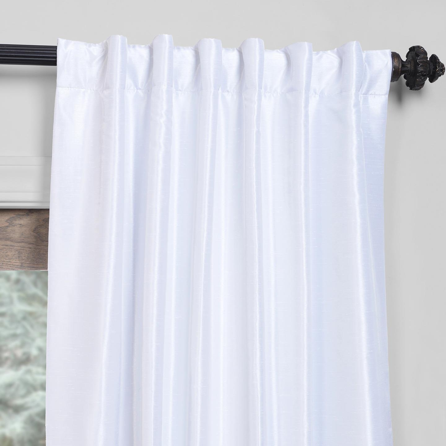 """Exclusive Fabrics True Blackout Vintage Textured Faux Dupioni Silk Curtain Panel In 108""""l In Off White (as Is) In True Blackout Vintage Textured Faux Silk Curtain Panels (View 15 of 30)"""