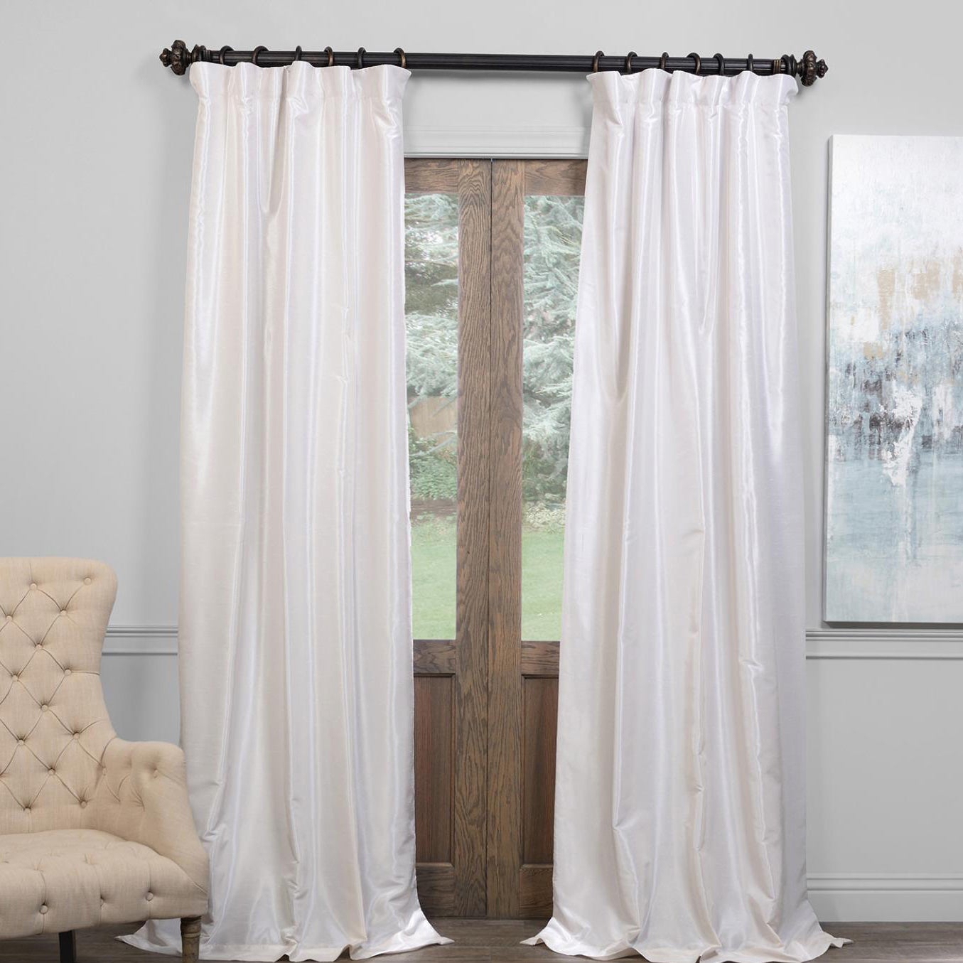 """Exclusive Fabrics True Blackout Vintage Textured Faux Dupioni Silk Curtain Panel In 108""""l In Off White (as Is) Inside Vintage Faux Textured Dupioni Silk Curtain Panels (View 11 of 30)"""