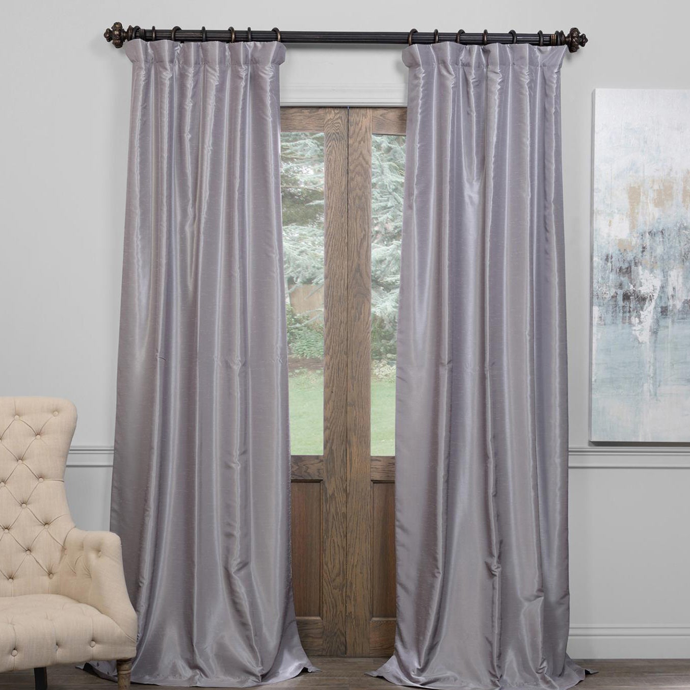 Exclusive Fabrics True Blackout Vintage Textured Faux Dupioni Silk Curtain Panel In Ruby (as Is Item)   Overstock Shopping – The Best Deals On As Within Vintage Textured Faux Dupioni Silk Curtain Panels (View 16 of 30)