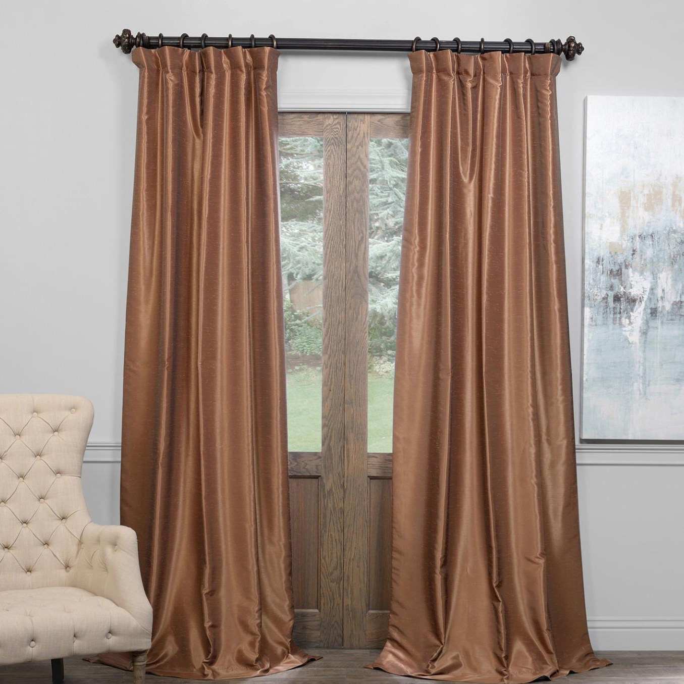 Exclusive Fabrics True Blackout Vintage Textured Faux Dupioni Silk Curtain Panel Pertaining To Vintage Textured Faux Dupioni Silk Curtain Panels (View 4 of 30)