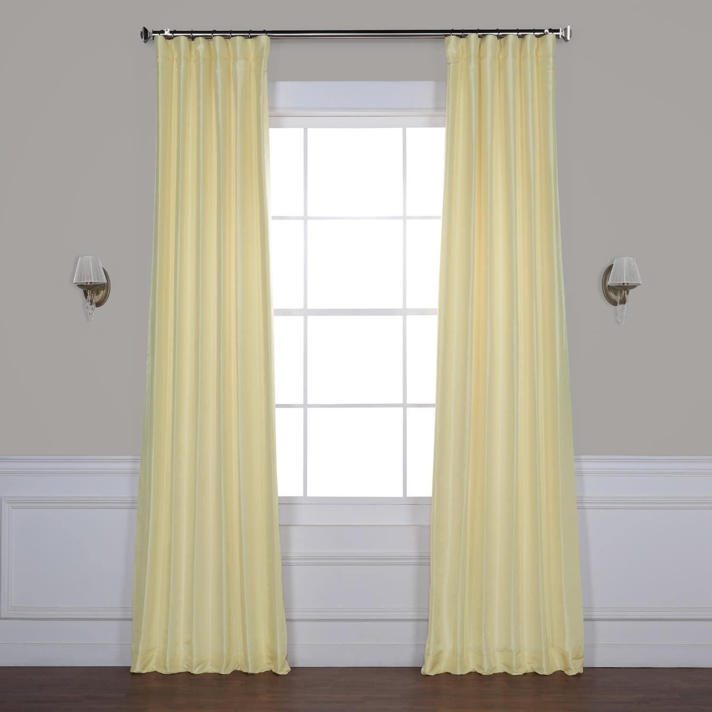 Exclusive Fabrics True Blackout Vintage Textured Faux Dupioni Silk Curtain Panel Regarding Storm Grey Vintage Faux Textured Dupioni Single Silk Curtain Panels (View 18 of 30)