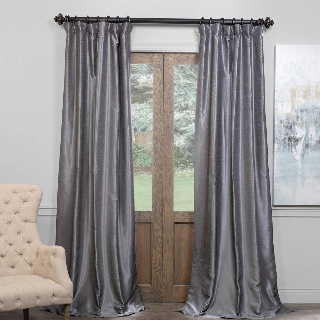 Exclusive Fabrics True Blackout Vintage Textured Faux Dupioni Silk Curtain Panel With Storm Grey Vintage Faux Textured Dupioni Single Silk Curtain Panels (View 19 of 30)
