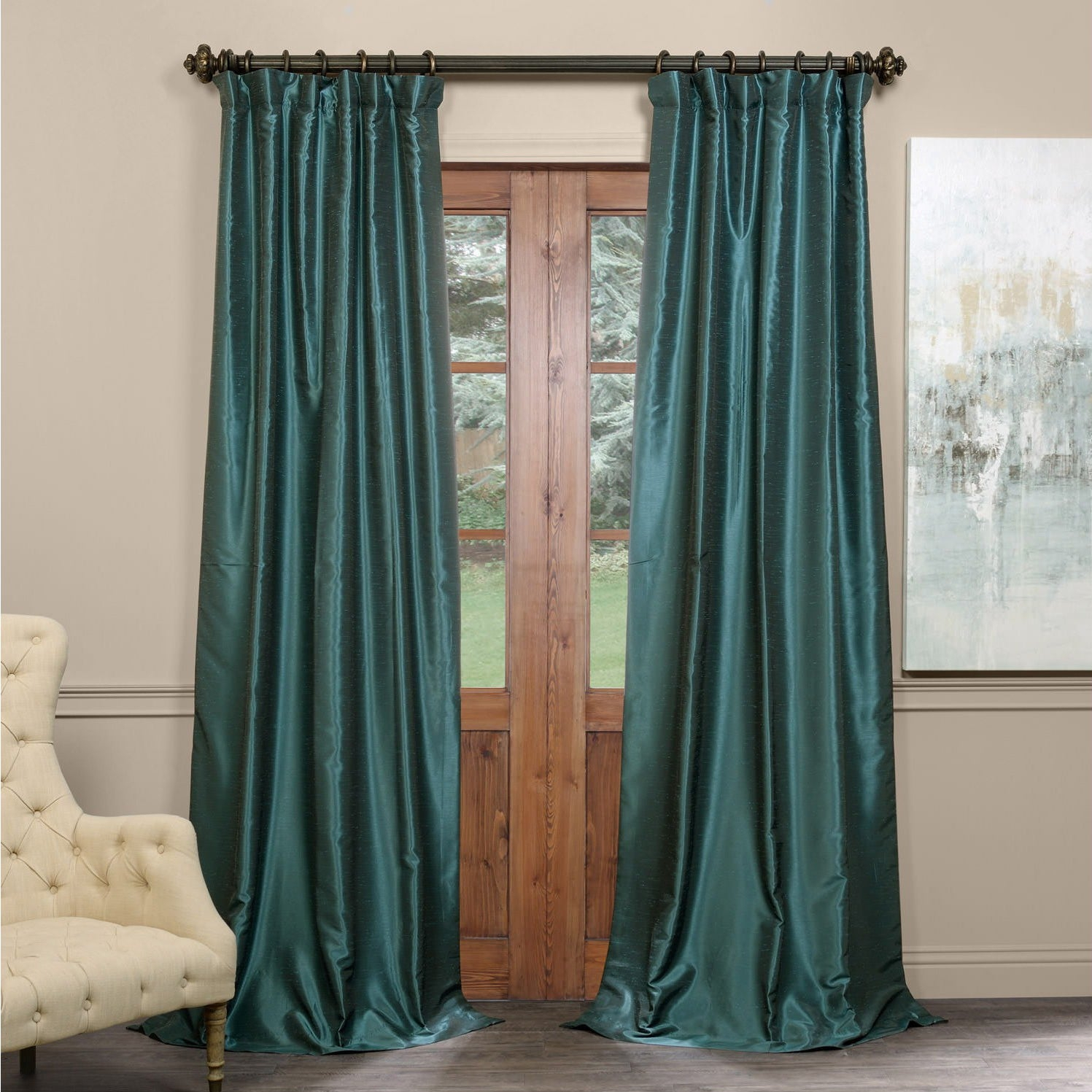 Exclusive Fabrics True Blackout Vintage Textured Faux Dupioni Silk Curtain Panel With True Blackout Vintage Textured Faux Silk Curtain Panels (View 4 of 30)