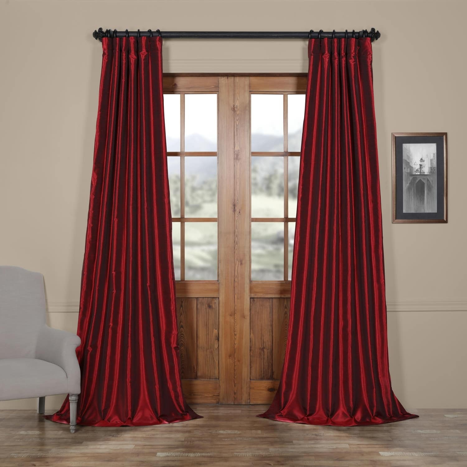 Exclusive Fabrics True Blackout Vintage Textured Faux Dupioni Silk Curtain Panel Within True Blackout Vintage Textured Faux Silk Curtain Panels (View 6 of 30)