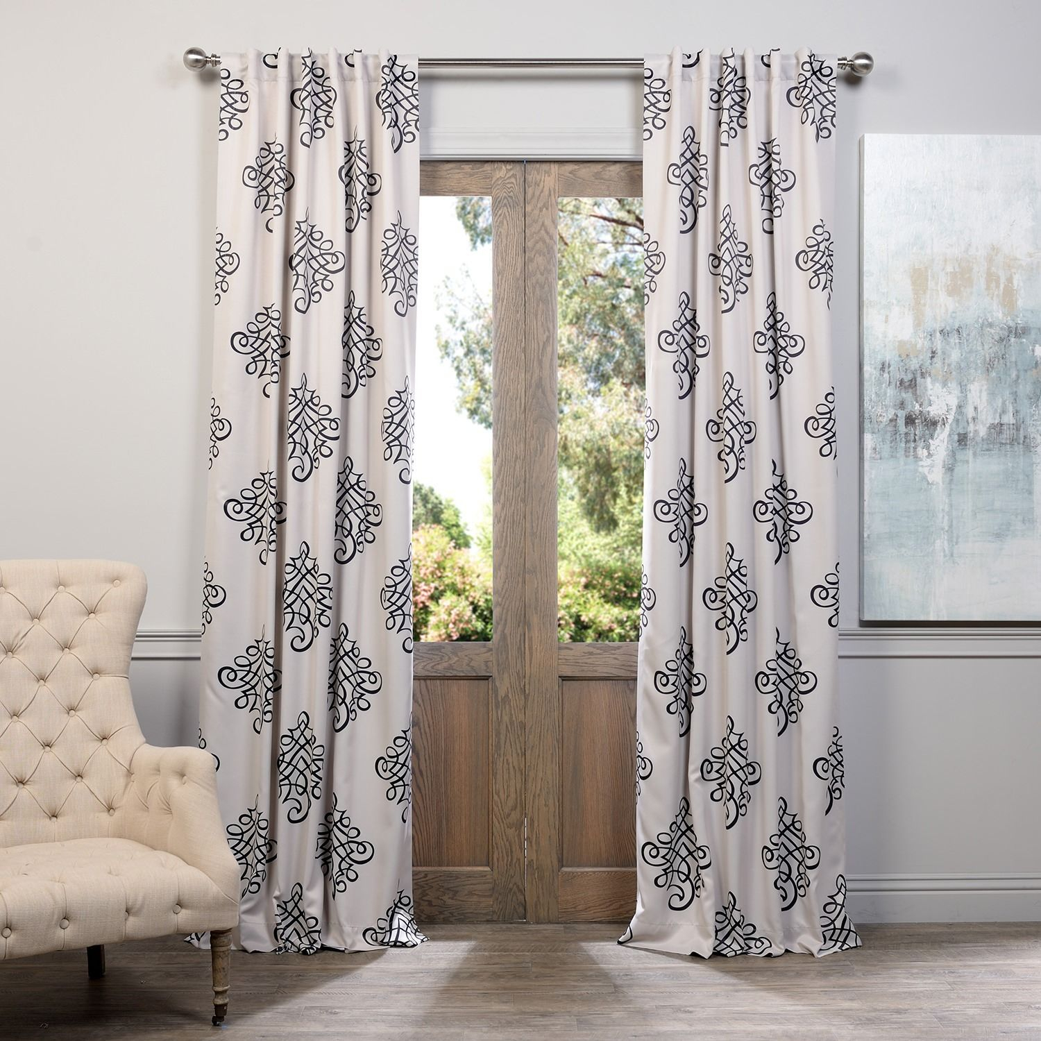 Exclusive Fabrics Tugra Printed Blackout Pole Pocket Curtain Throughout Pastel Damask Printed Room Darkening Grommet Window Curtain Panel Pairs (View 10 of 20)