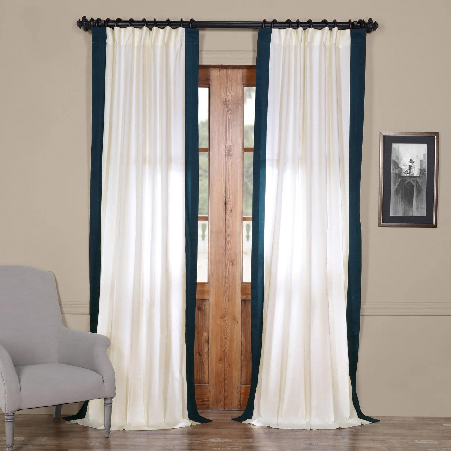 Exclusive Fabrics Vertical Colorblock Panama Curtain (50 X With Vertical Colorblock Panama Curtains (View 4 of 30)