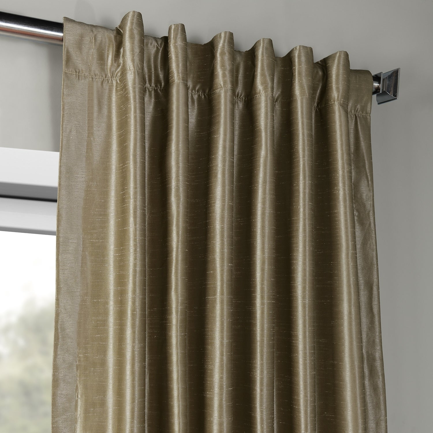 """Exclusive Fabrics Vintage Textured Faux Dupioni Silk Curtain Panel 108"""" In Pine Top (as Is Item)   Overstock Shopping – The Best Deals On As Is With Vintage Textured Faux Dupioni Silk Curtain Panels (View 19 of 30)"""