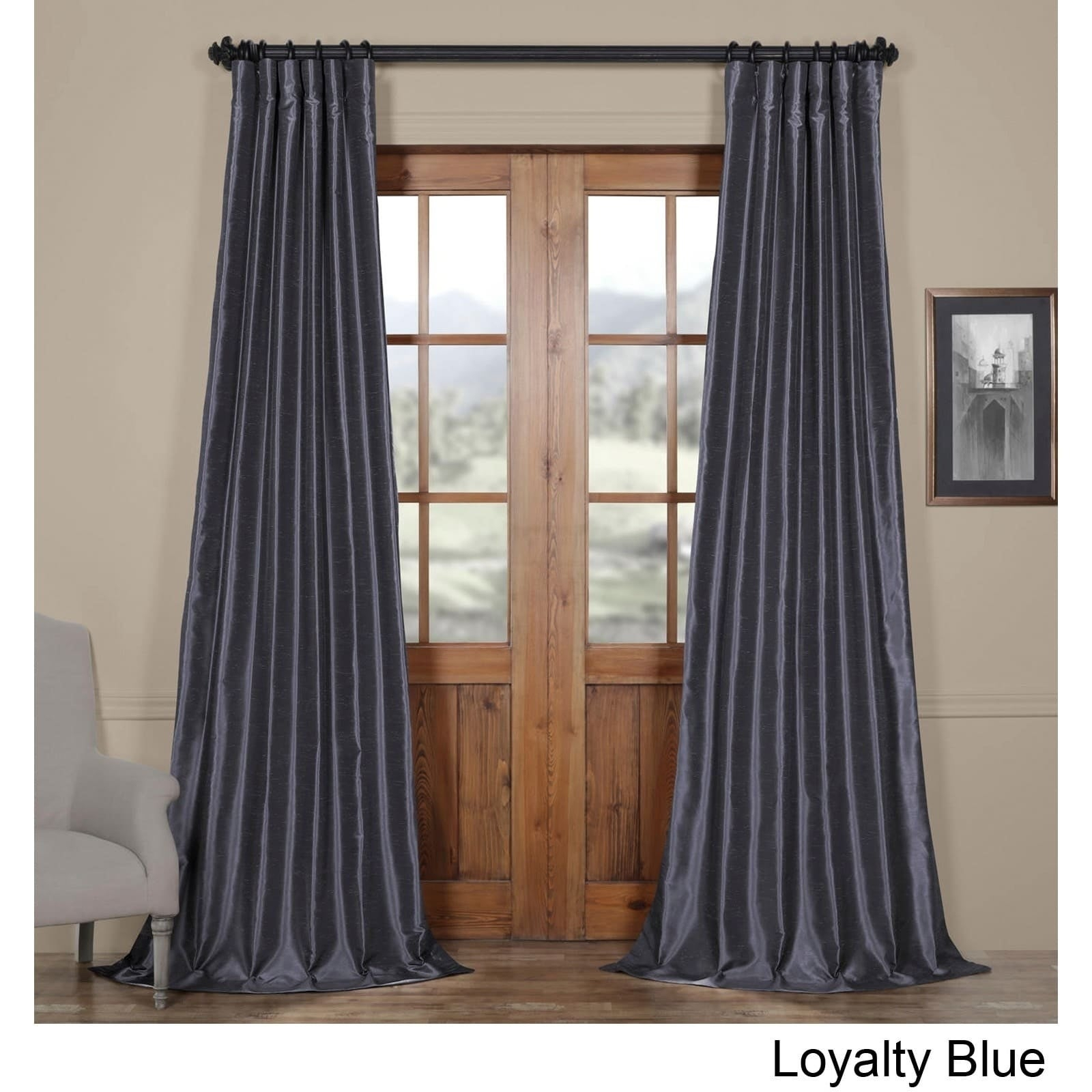 Exclusive Fabrics Vintage Textured Faux Dupioni Silk Curtain Panel 96' In Captian's Blue (as Is Item) With Regard To Vintage Textured Faux Dupioni Silk Curtain Panels (View 11 of 30)