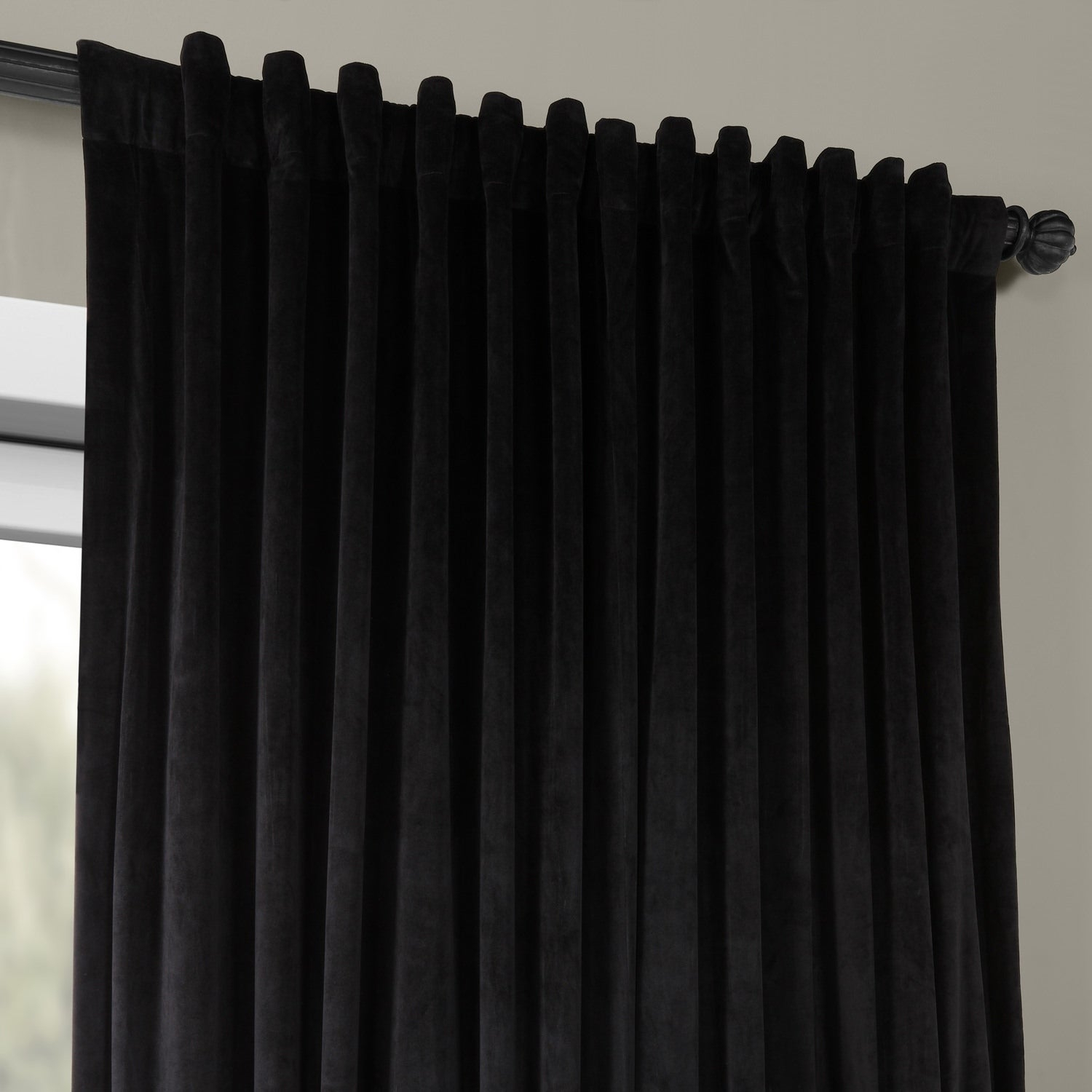 Exclusive Fabrics Warm Black Velvet Blackout Extra Wide Single Curtain Panel In Warm Black Velvet Single Blackout Curtain Panels (View 9 of 30)