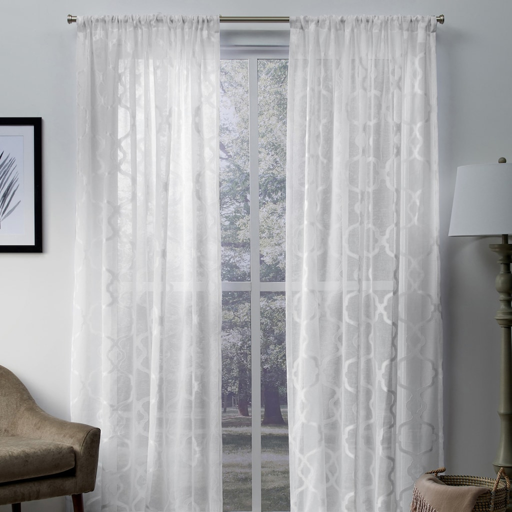 Exclusive Home 2 Pack Muse Geometric Jacquard Linen Sheer Throughout Oakdale Textured Linen Sheer Grommet Top Curtain Panel Pairs (View 15 of 20)