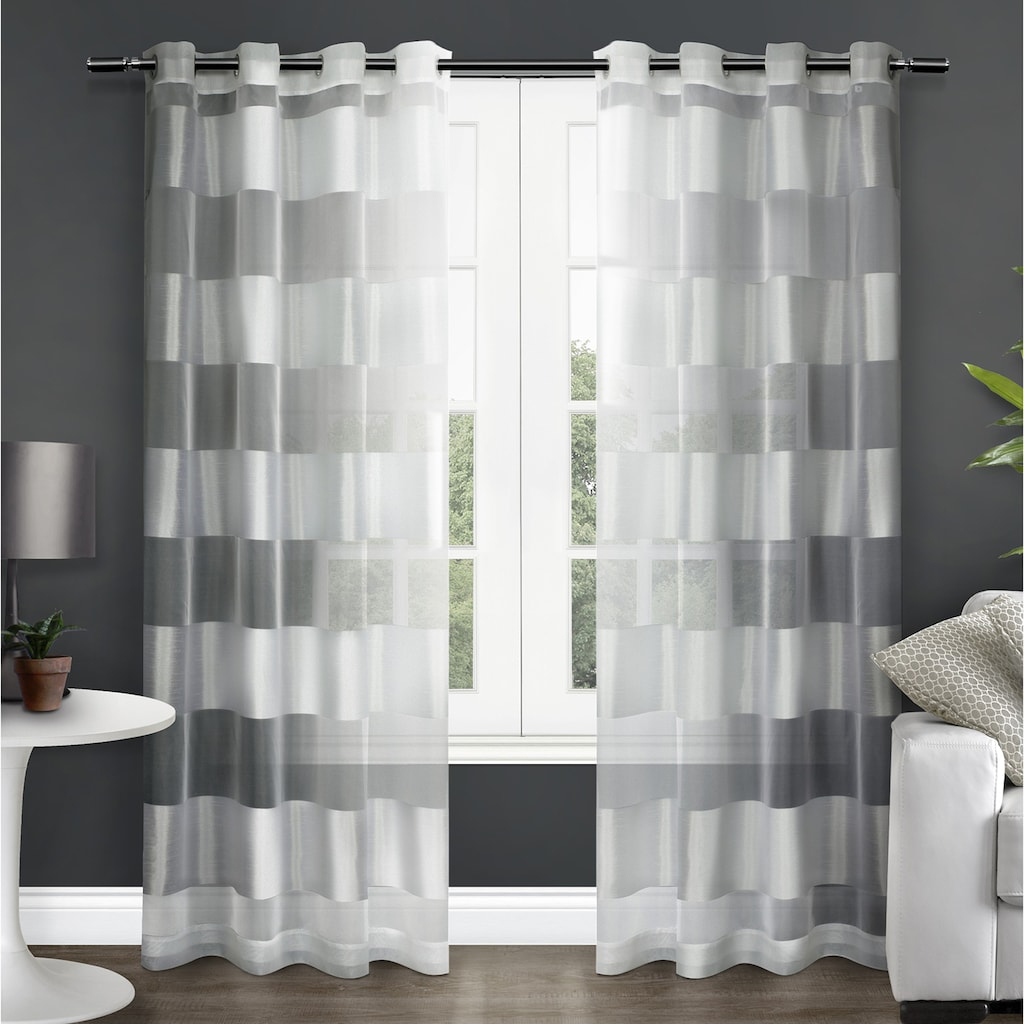 Exclusive Home 2 Pack Navaro Striped Sheer Window Curtains Within Keyes Blackout Single Curtain Panels (View 8 of 20)