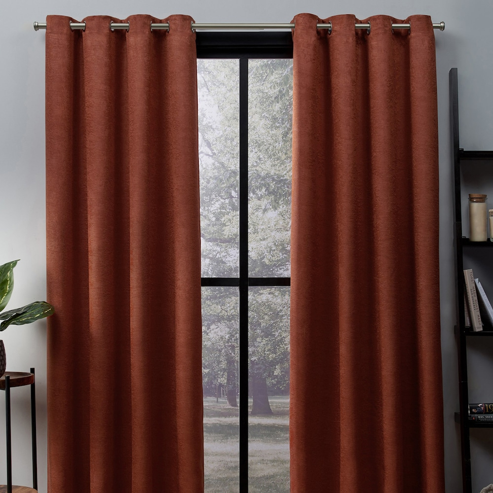 Exclusive Home 2 Pack Oxford Textured Sateen Woven Blackout Inside Oxford Sateen Woven Blackout Grommet Top Curtain Panel Pairs (View 13 of 20)