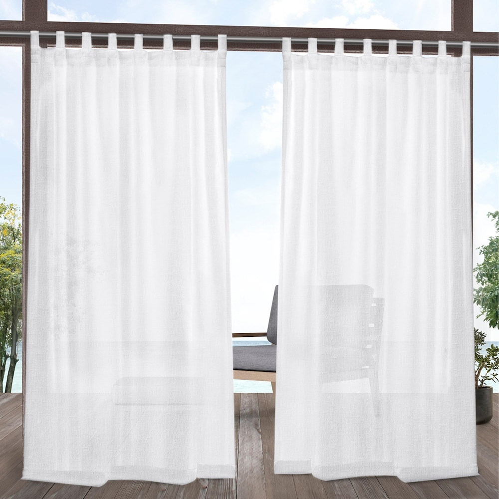 Exclusive Home 2 Pack Tao Indoor/outdoor Sheer Linen Window With Regard To Jacob Tab Top Single Curtain Panels (View 17 of 20)