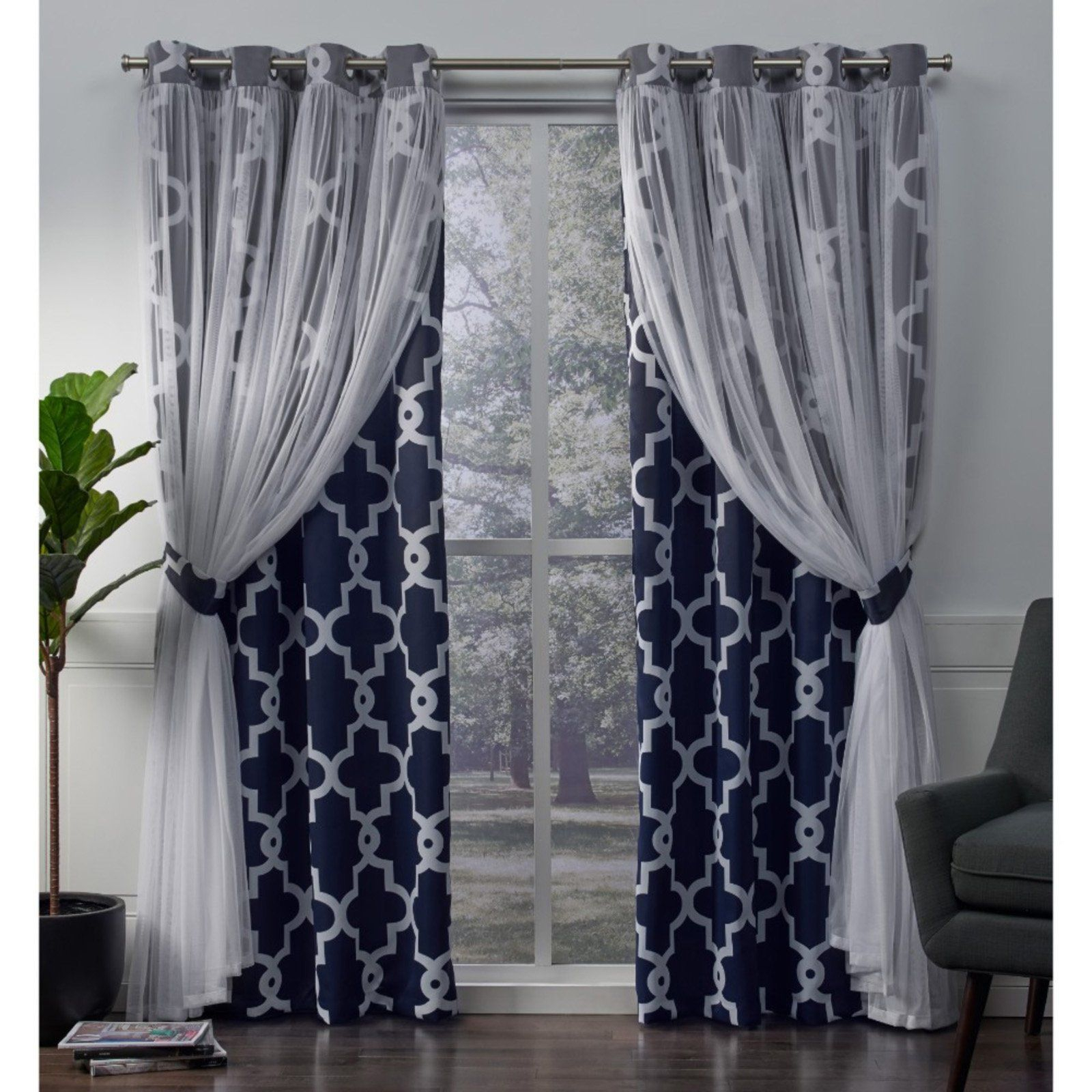 Exclusive Home Alegra Layered Gated Blackout And Sheer With Regard To Bethany Sheer Overlay Blackout Window Curtains (View 12 of 20)