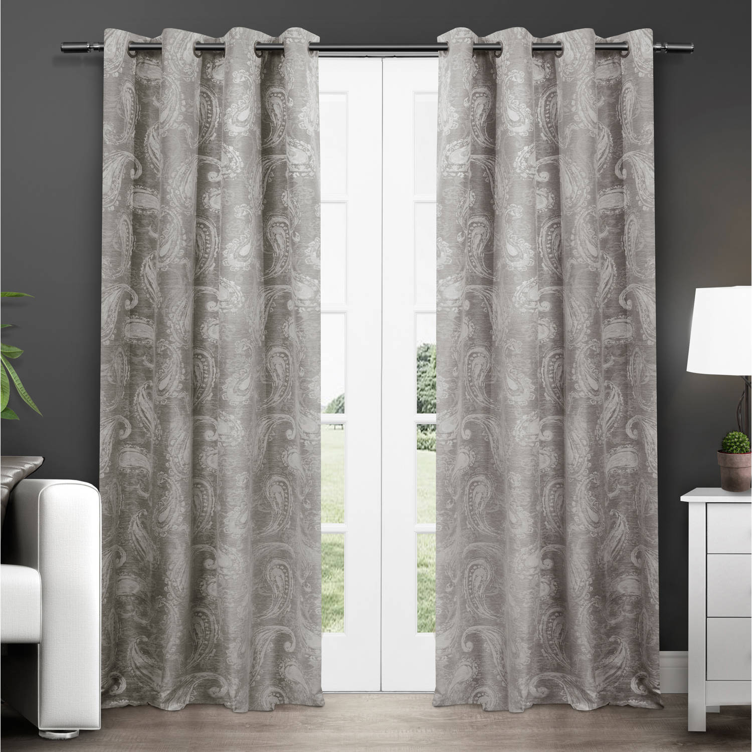 Exclusive Home Bangalore Paisley Thermal Window Curtain Panel Pair With Grommet Top Pertaining To Thermal Insulated Blackout Grommet Top Curtain Panel Pairs (View 9 of 30)