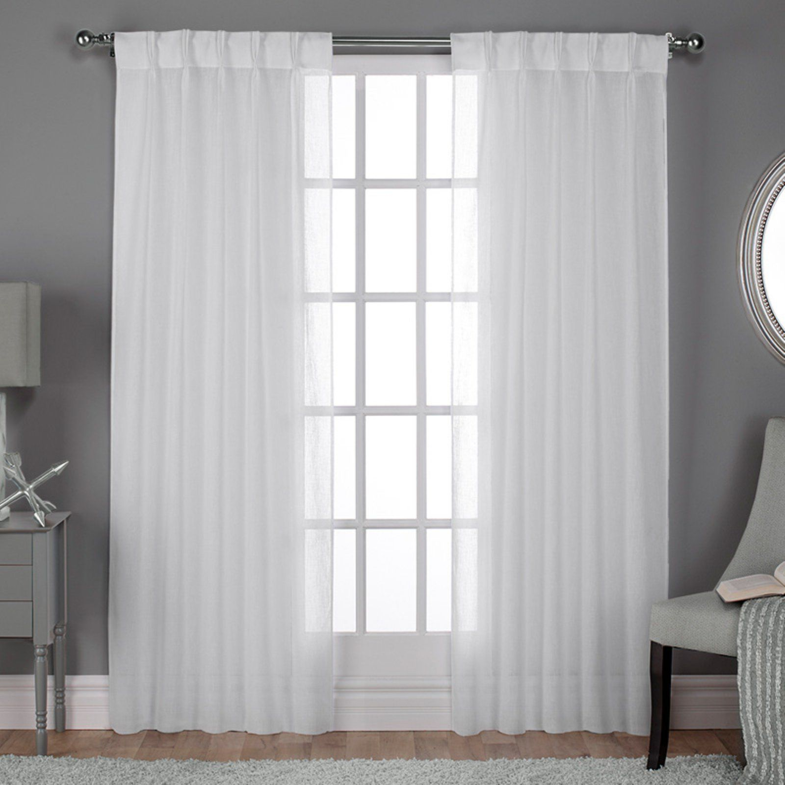 Exclusive Home Belgian Pleated Jacquard Sheer Window Curtain Intended For Lydia Ruffle Window Curtain Panel Pairs (View 10 of 20)