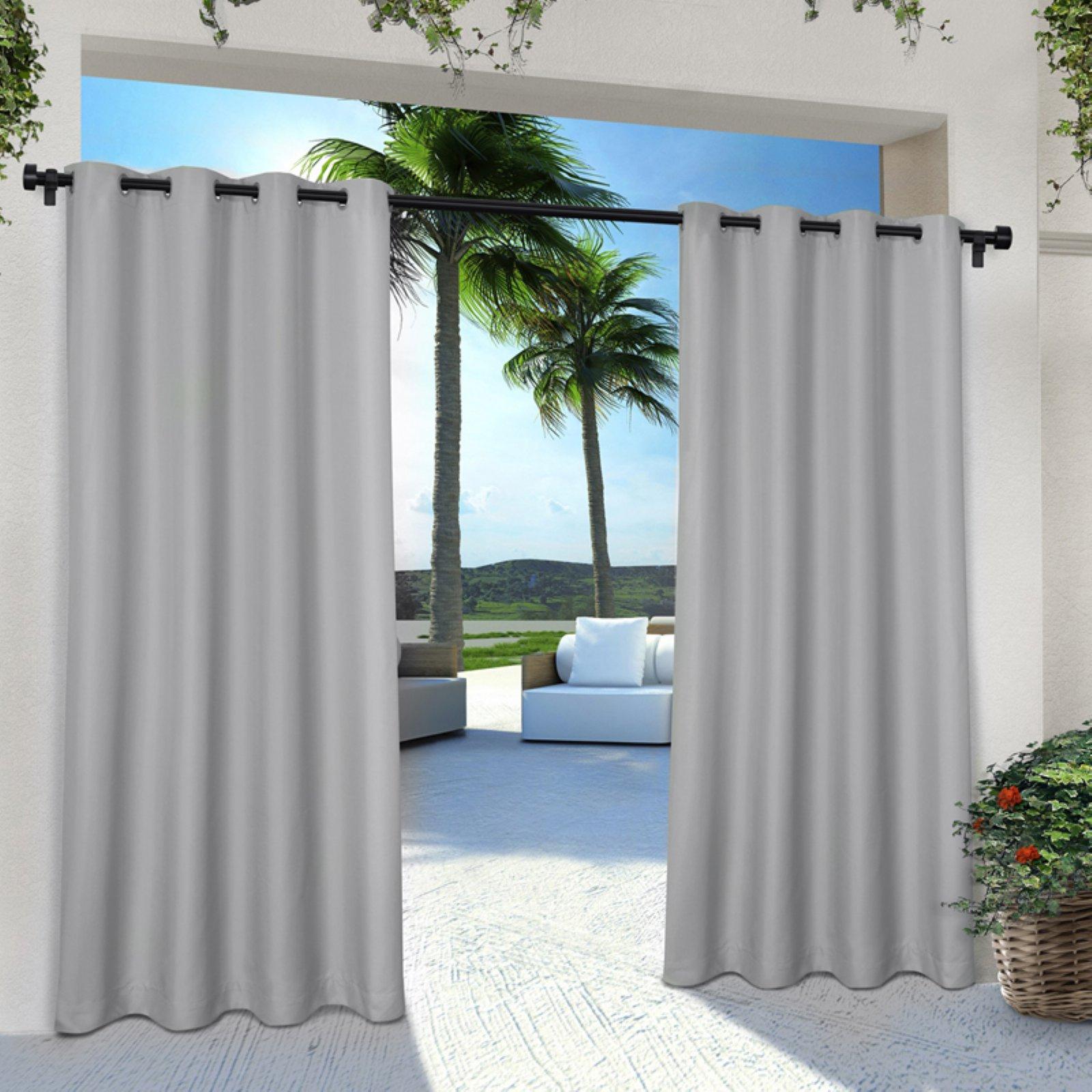 Exclusive Home Cabana Solid Grommet Indoor/outdoor Curtain With Regard To Valencia Cabana Stripe Indoor/outdoor Curtain Panels (View 11 of 30)