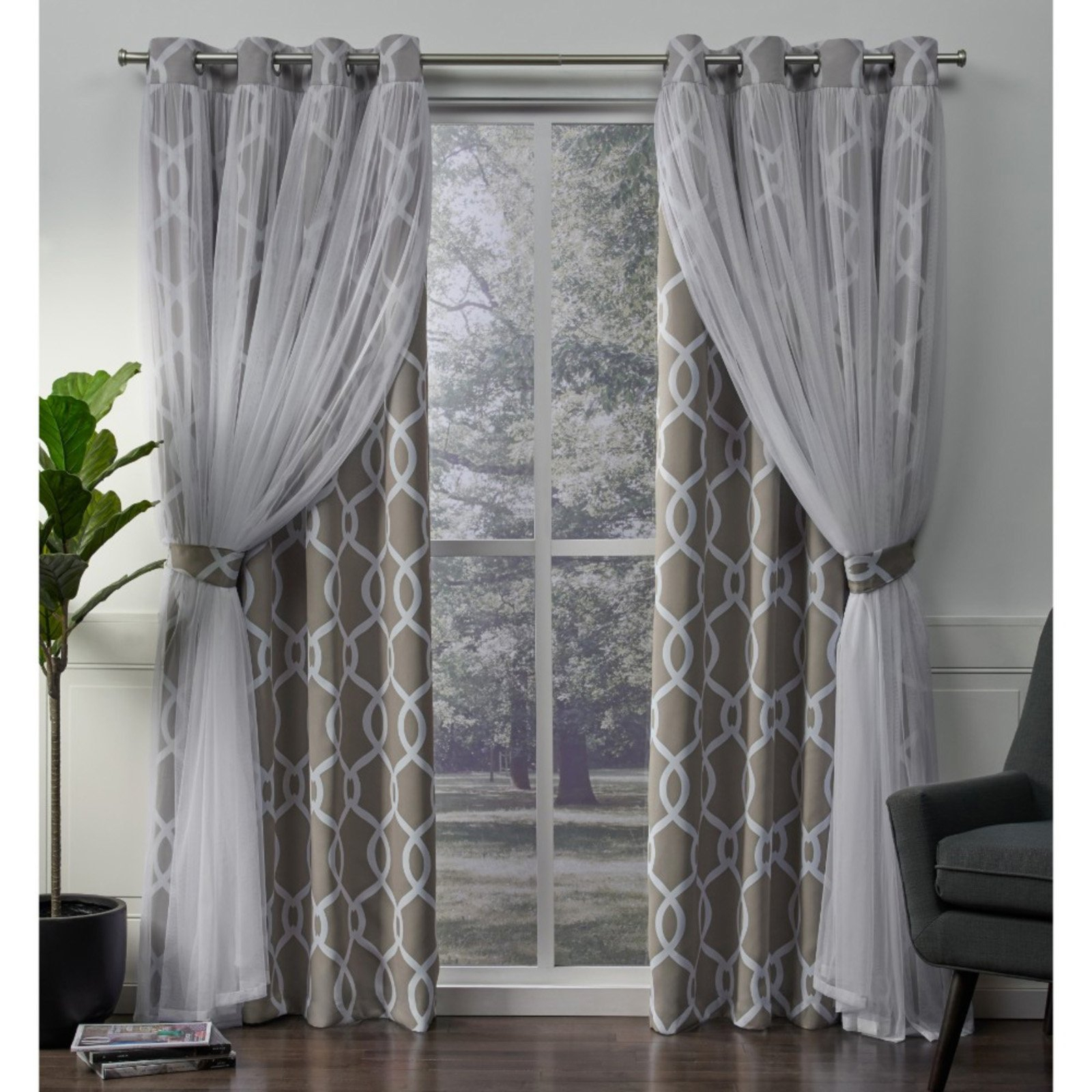 Exclusive Home Carmela Layered Geometric Blackout And Sheer Throughout Bethany Sheer Overlay Blackout Window Curtains (View 14 of 20)