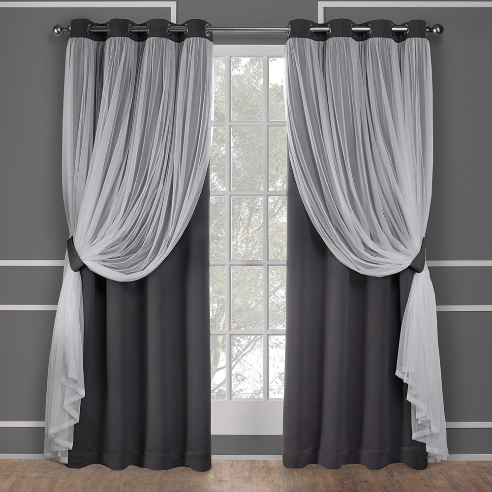 Exclusive Home Catarina Layered Solid Blackout And Sheer Intended For Solid Grommet Top Curtain Panel Pairs (View 19 of 30)