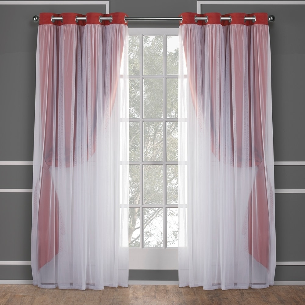 Exclusive Home Catarina Layered Solid Blackout And Sheer Window Curtain Panel Pair With Grommet Top For Catarina Layered Curtain Panel Pairs With Grommet Top (View 10 of 20)