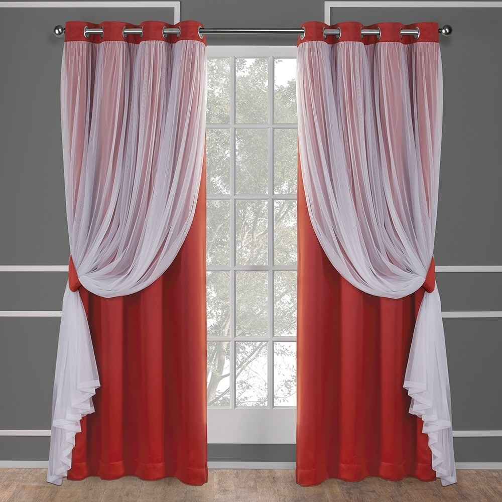 Exclusive Home Catarina Layered Solid Blackout And Sheer Window Curtain Panel Pair With Grommet Top Within Solid Grommet Top Curtain Panel Pairs (View 12 of 30)