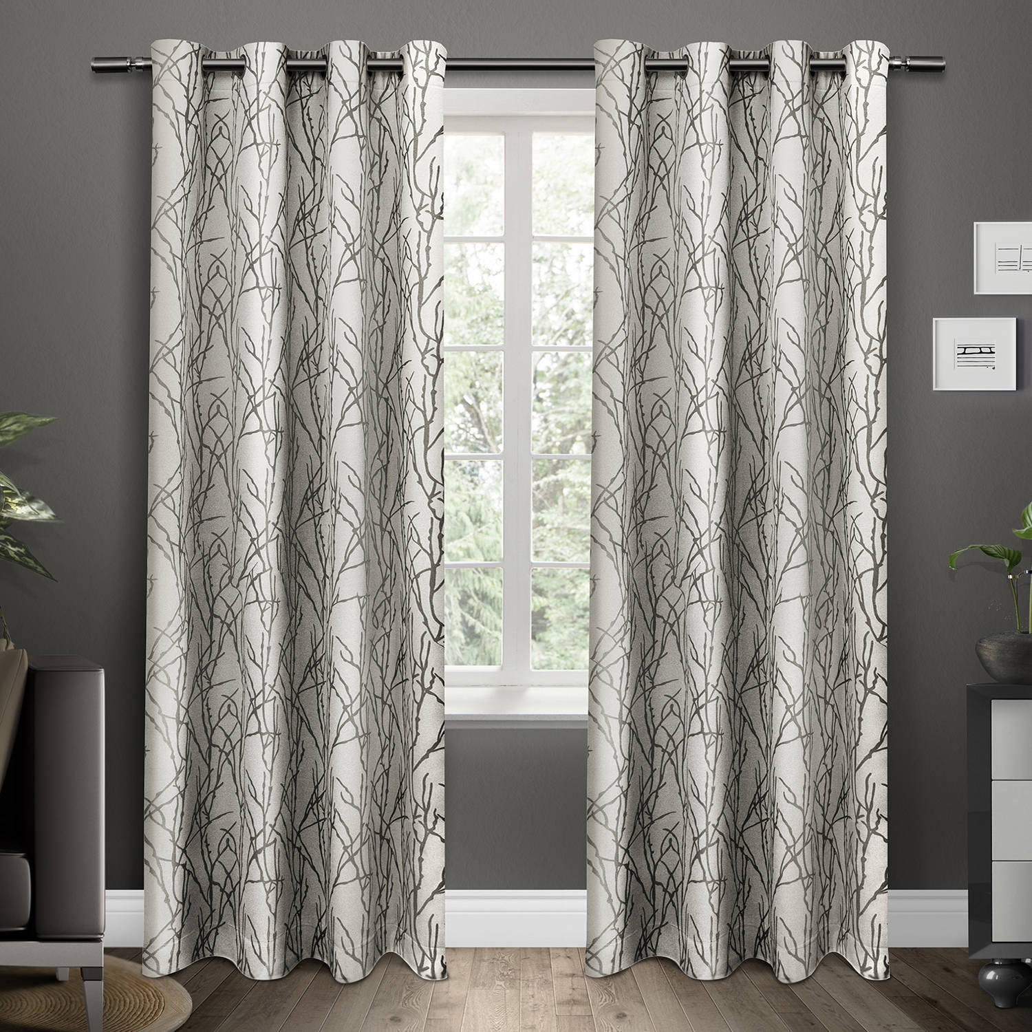 "Exclusive Home Curtains 1"" Holden Curtain Rod And Finial Set Pertaining To Wilshire Burnout Grommet Top Curtain Panel Pairs (View 20 of 30)"