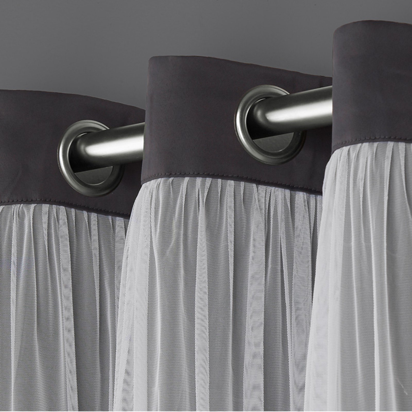 Exclusive Home Curtains 2 Pack Catarina Layered Solid Blackout And Sheer Grommet Top Curtain Panels Intended For Catarina Layered Curtain Panel Pairs With Grommet Top (View 17 of 20)