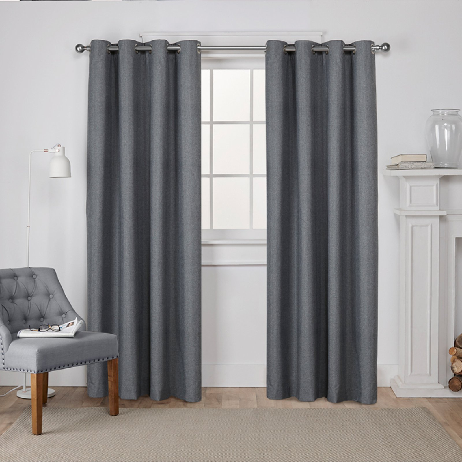 Exclusive Home Curtains 2 Pack London Textured Linen Thermal Grommet Top Curtain Panels Inside Thermal Textured Linen Grommet Top Curtain Panel Pairs (View 6 of 30)