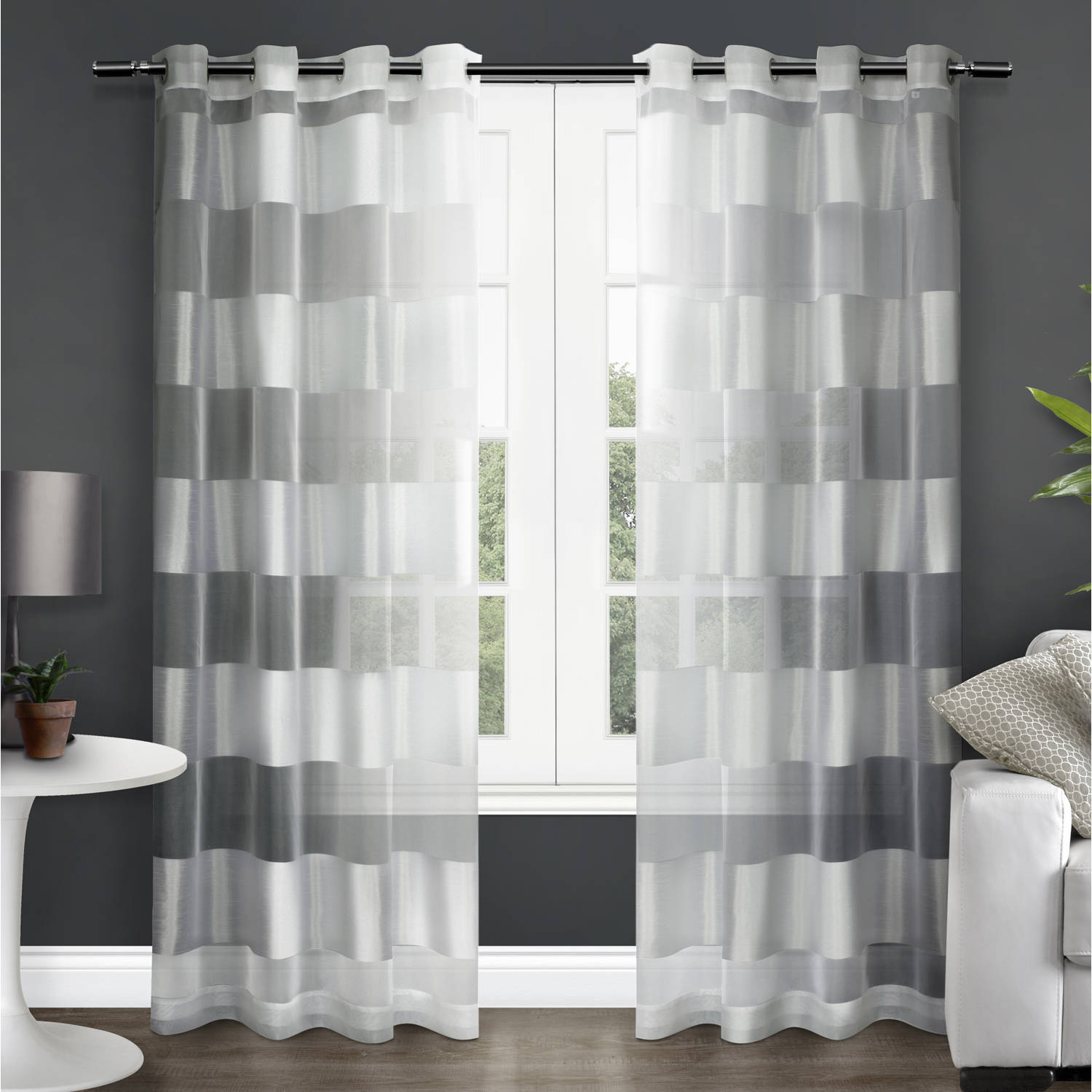 Exclusive Home Curtains 2 Pack Navaro Striped Sheer Grommet Top Curtain Panels With Regard To Ocean Striped Window Curtain Panel Pairs With Grommet Top (View 6 of 20)