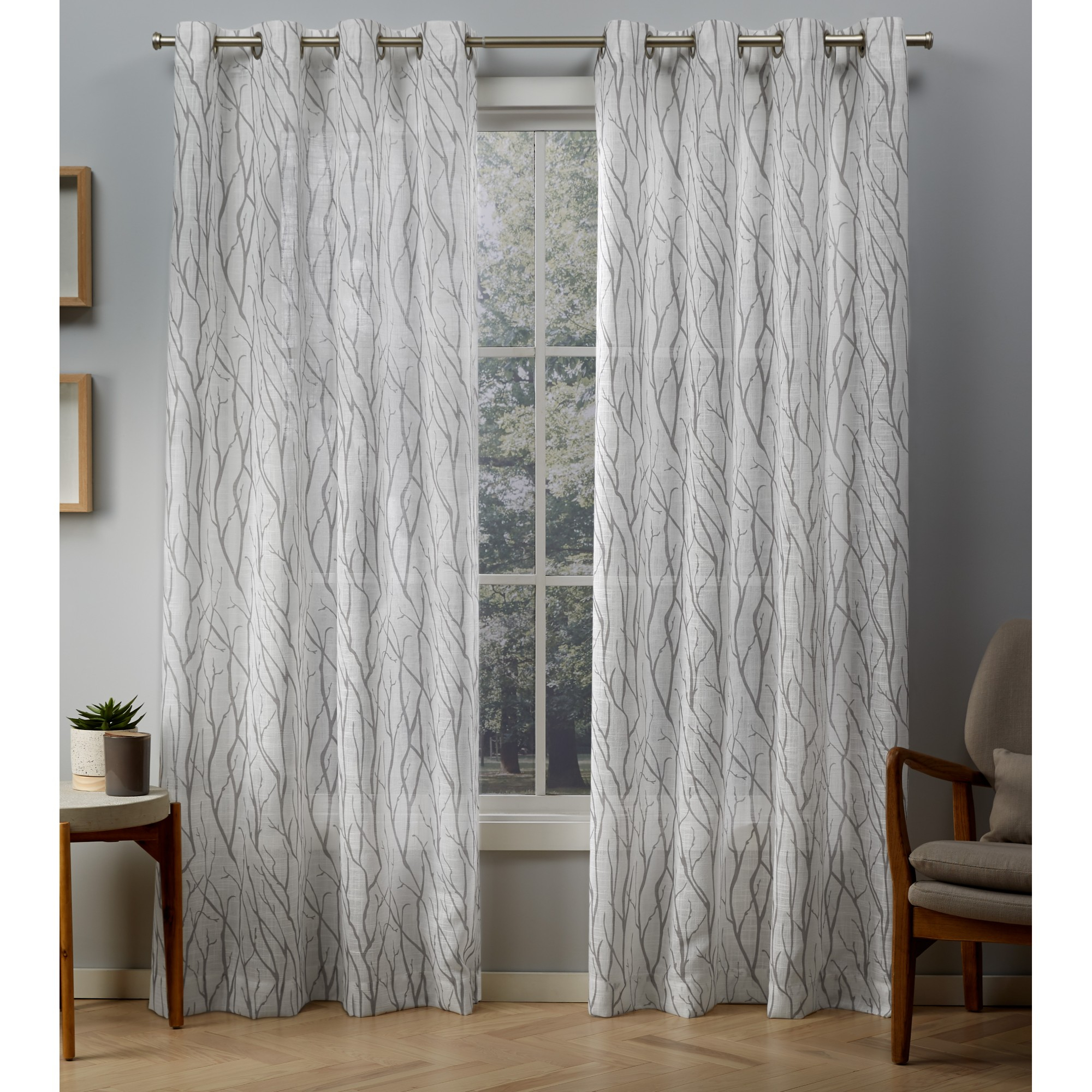 Exclusive Home Curtains 2 Pack Oakdale Motif Textured Linen Grommet Top Curtain Panels With Oakdale Textured Linen Sheer Grommet Top Curtain Panel Pairs (View 3 of 20)