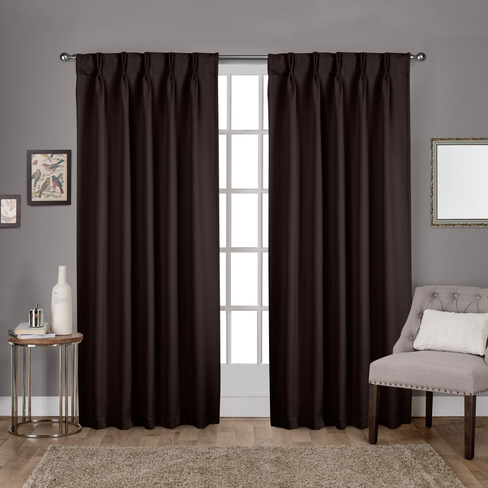 Exclusive Home Curtains 2 Pack Sateen Woven Blackout Pinch Pleat Curtain Panels Regarding Double Pinch Pleat Top Curtain Panel Pairs (View 11 of 20)
