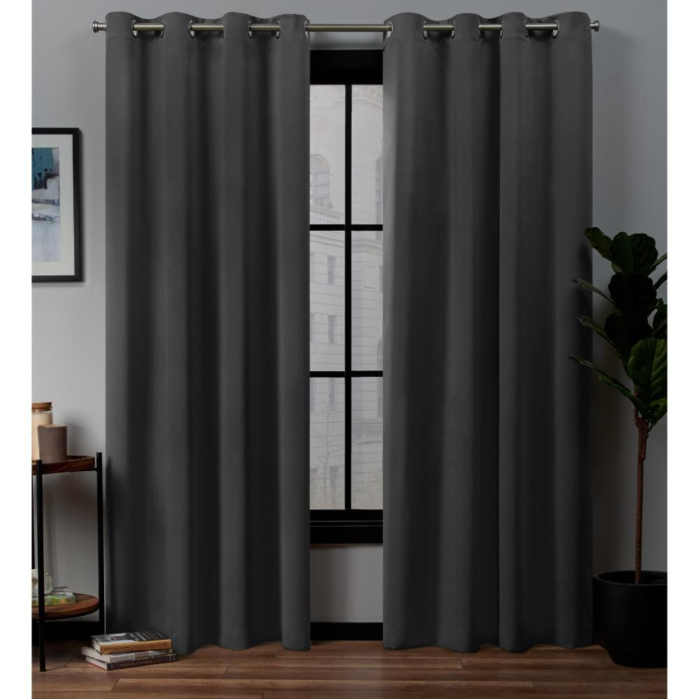 Exclusive Home Curtains Academy Total Blackout Grommet Top Curtain Panel Pair In Charcoal – 52 In. W X 96 In (View 3 of 30)