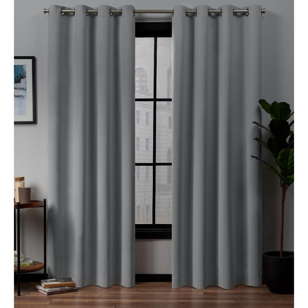 Exclusive Home Curtains Academy Total Blackout Grommet Top Curtain Panel Pair In Silver – 52 In. W X 96 In (View 16 of 30)