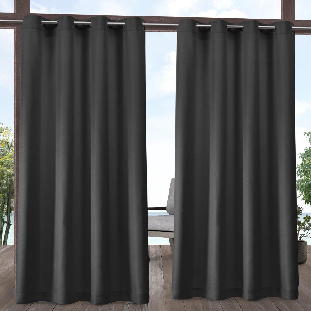 Exclusive Home Curtains Indoor/outdoor Solid Cabana Grommet Top Curtain Panel Pair In Charcoal – 54 In. W X 84 In (View 14 of 20)