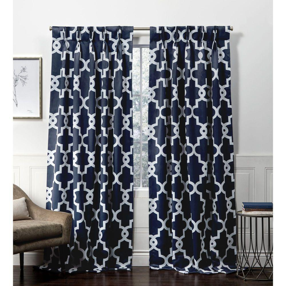 Exclusive Home Curtains Ironwork Pp Peacoat Blue Blackout Triple Pinch Pleat Top Curtain Panel – 27 In. W X 84 In (View 12 of 20)